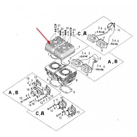 Головка цилиндра С40500127 /ТАЙГА 500